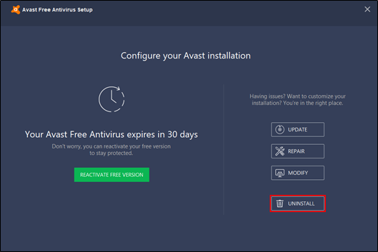 It will open Avast's Configuration screen, tap the Uninstall button on the window.