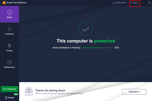 Run the Avast Antivirus Software and click on the Menu button in the top right.